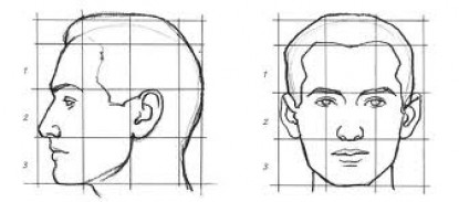 Rule of thirds for drawing facial features