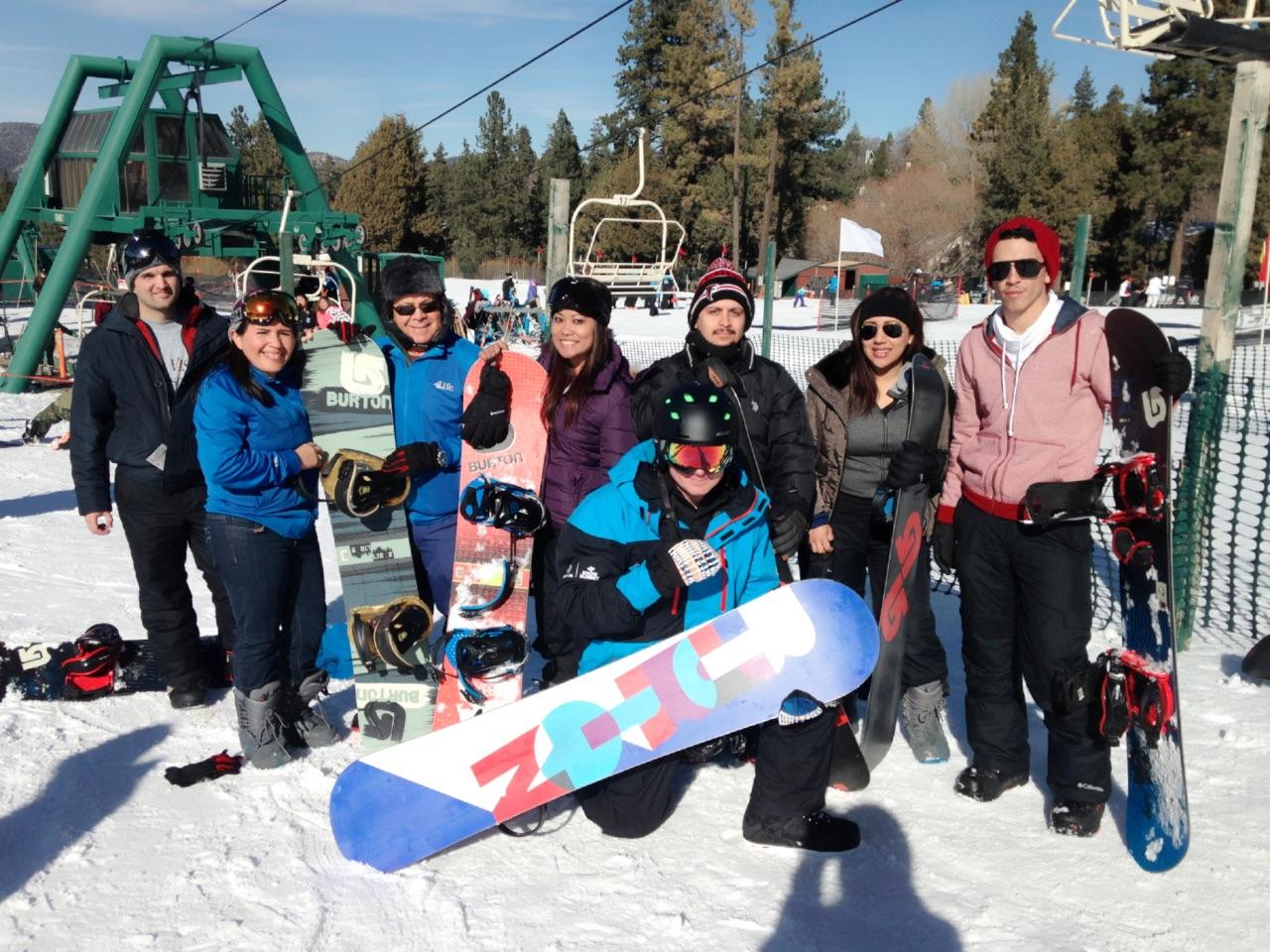 Dr U office staff snowboarding in Big Bear.